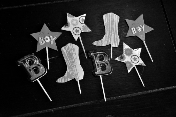 Its a Boy Cupcake Toppers - B&W